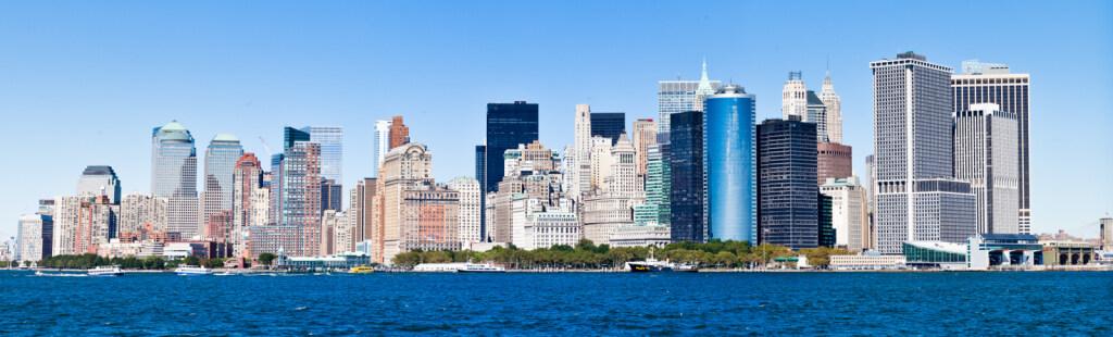 Manhattan Skyline (panorama shot from Staten Island Ferry)